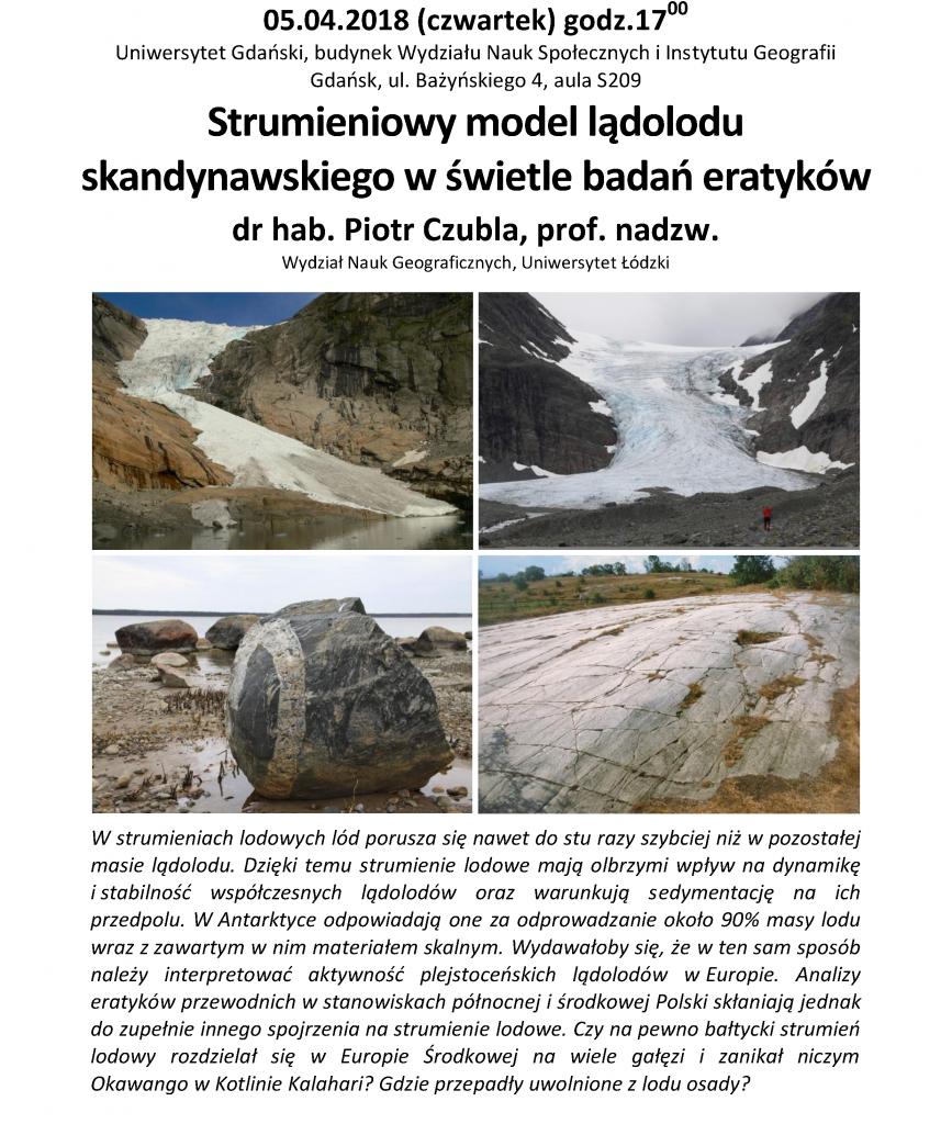Spotkanie: 05.04.2018; 17:00. Strumieniowy model lądolodu skandynawskiego w świetle badań eratyków