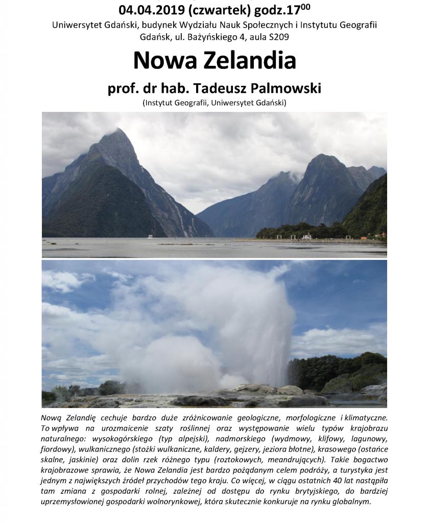 Nowa Zelandia prof. dr hab. Tadeusz Palmowski