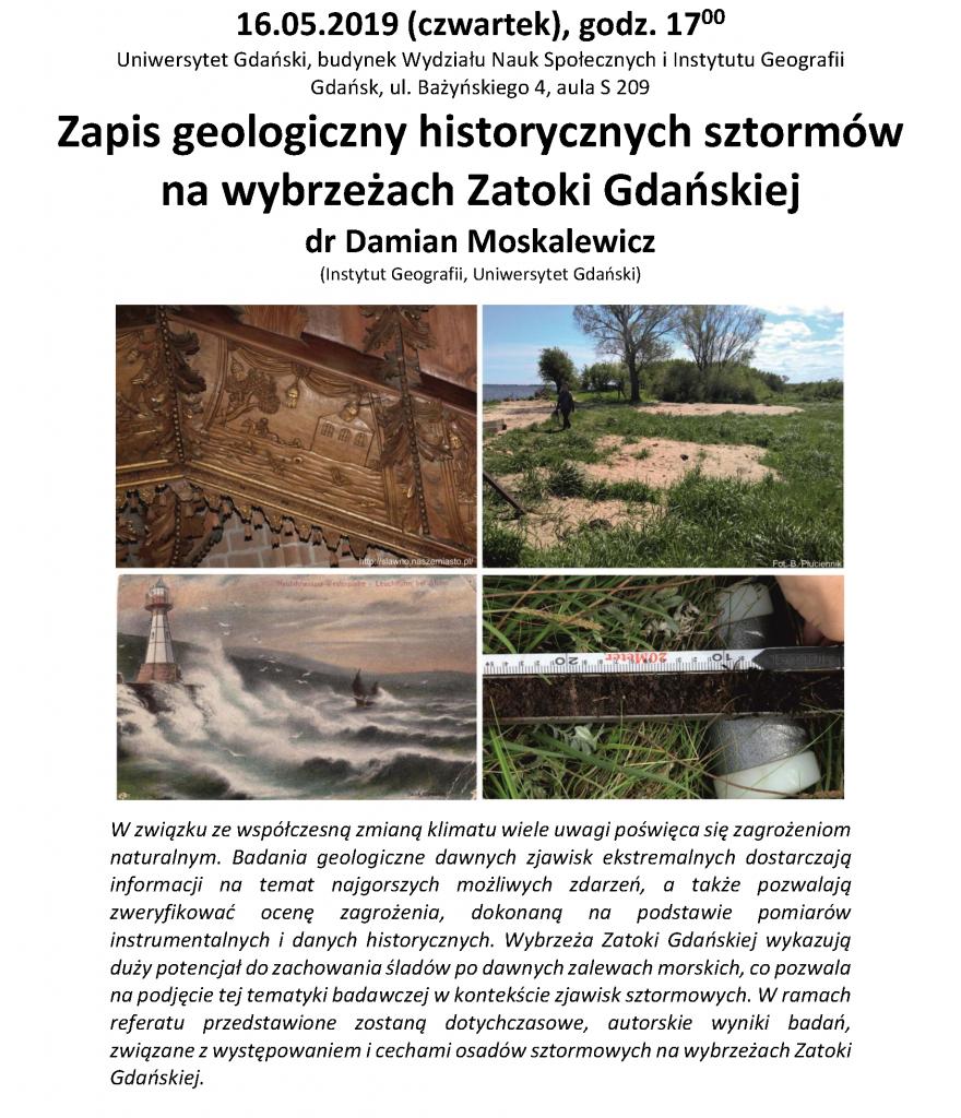 Zapis geologiczny historycznych sztormów na wybrzeżach Zatoki Gdańskiej dr Damian Moskalewicz