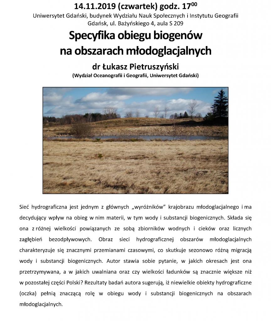 Specyfika obiegu biogenów na obszarach młodoglacjalnych dr Łukasz Pietruszyński