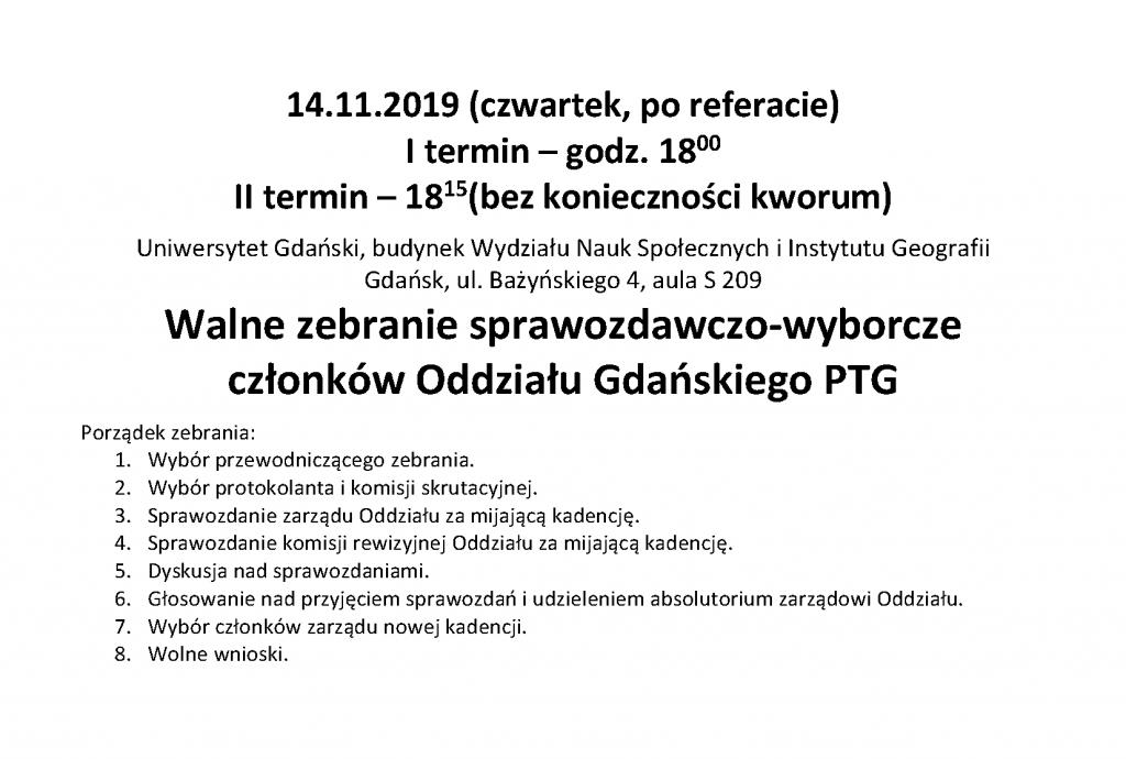 Walne zebranie sprawozdawczo-wyborcze członków Oddziału Gdańskiego PTG