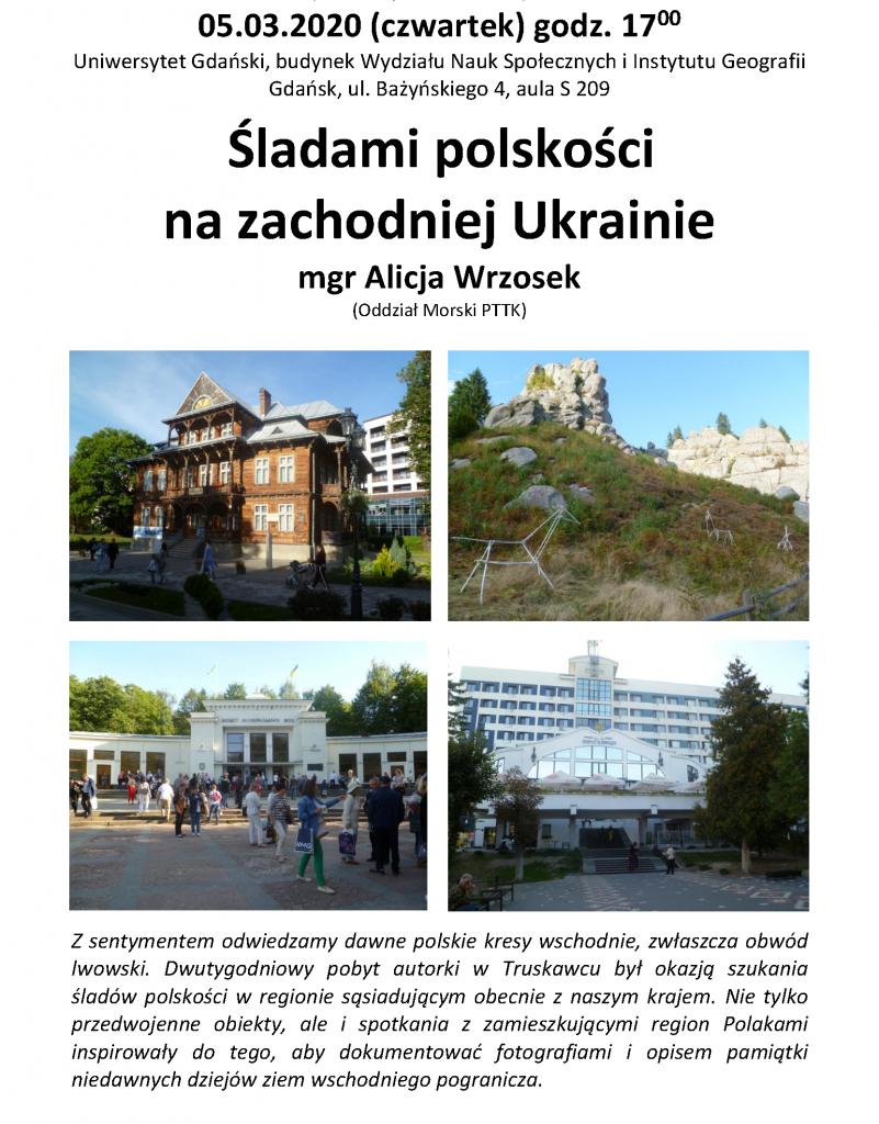 """Plakat - Alicja Wrzosek: """"Śladami polskości na zachodniej Ukrainie"""""""