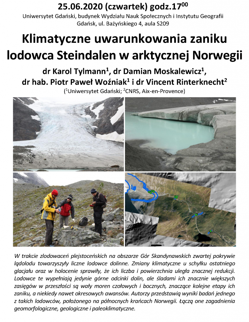 """Karol Tylmann i in.: """"Klimatyczne uwarunkowania zaniku lodowca Steindalen w arktycznej Norwegii"""""""