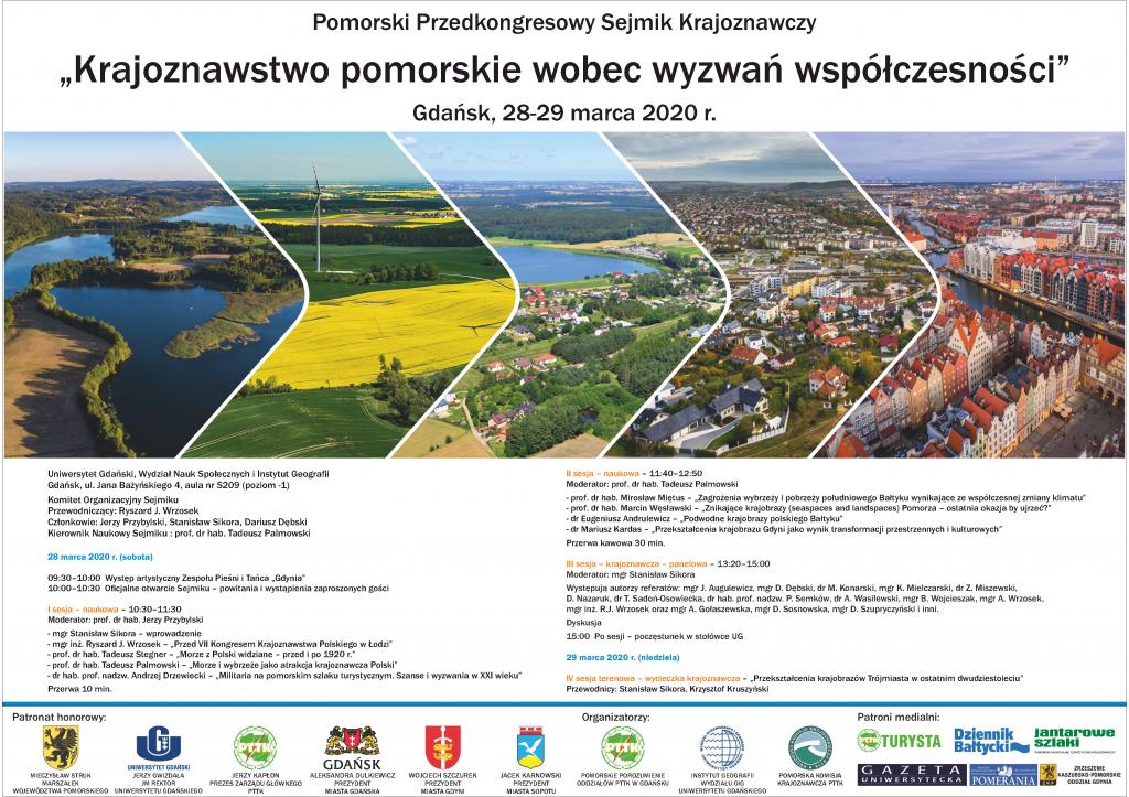 """Plakat: Pomorski Przedkongresowy Sejmik Krajoznawczy: """"Krajoznawstwo pomorskie wobec wyzwań współczesności"""""""