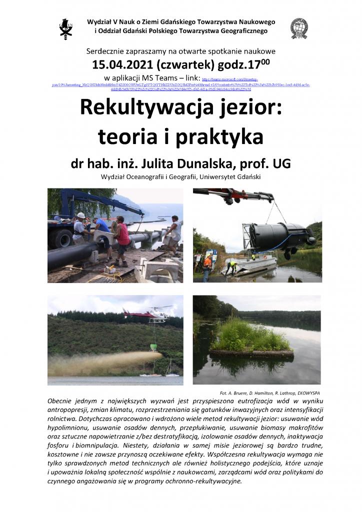 "Julita Dunalska: ""Rekultywacja jezior: teoria i praktyka"""