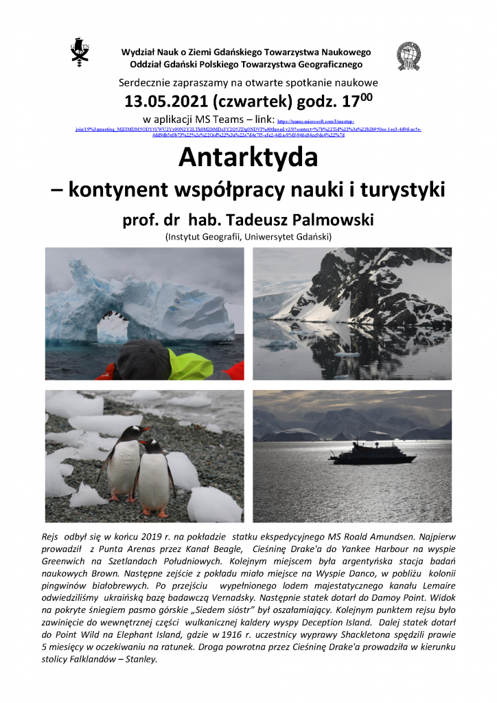 """Tadeusz Palmowski: """"Antarktyda – kontynent współpracy nauki i turystyki"""""""