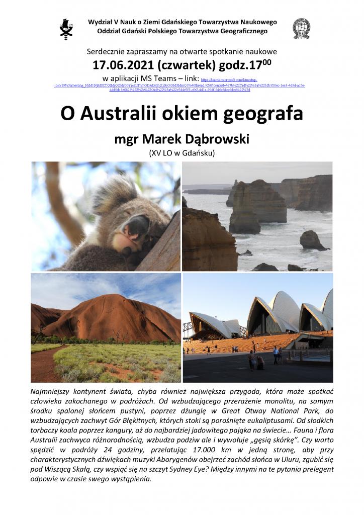 """Marek Dąbrowski: """"O Australii okiem geografa"""""""